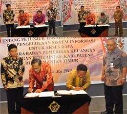 Gambar 1.Penandatanganan Keputusan Bersama tentang Juknis E-audit antara Kepala Perwakilan dengan Bupati Bulungan, Kutai Barat, Tana Tidung